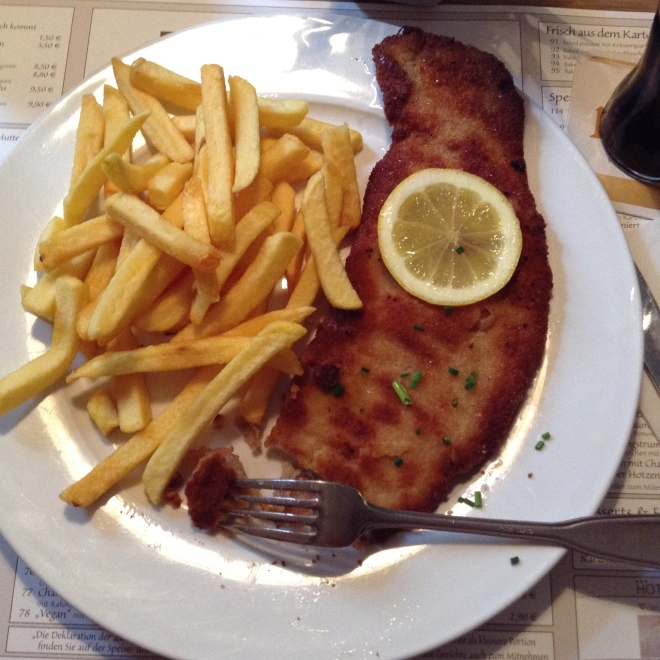 my lunch: schnitzel and fries